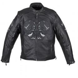 Reflective Skull Leather Jacket