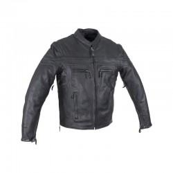 Men's Reflective stripe Leather Jacket