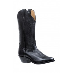 "Boulet 13"" Ladies Sporty Black Deer Tan Medium Cowboy Toe Boot 4074"