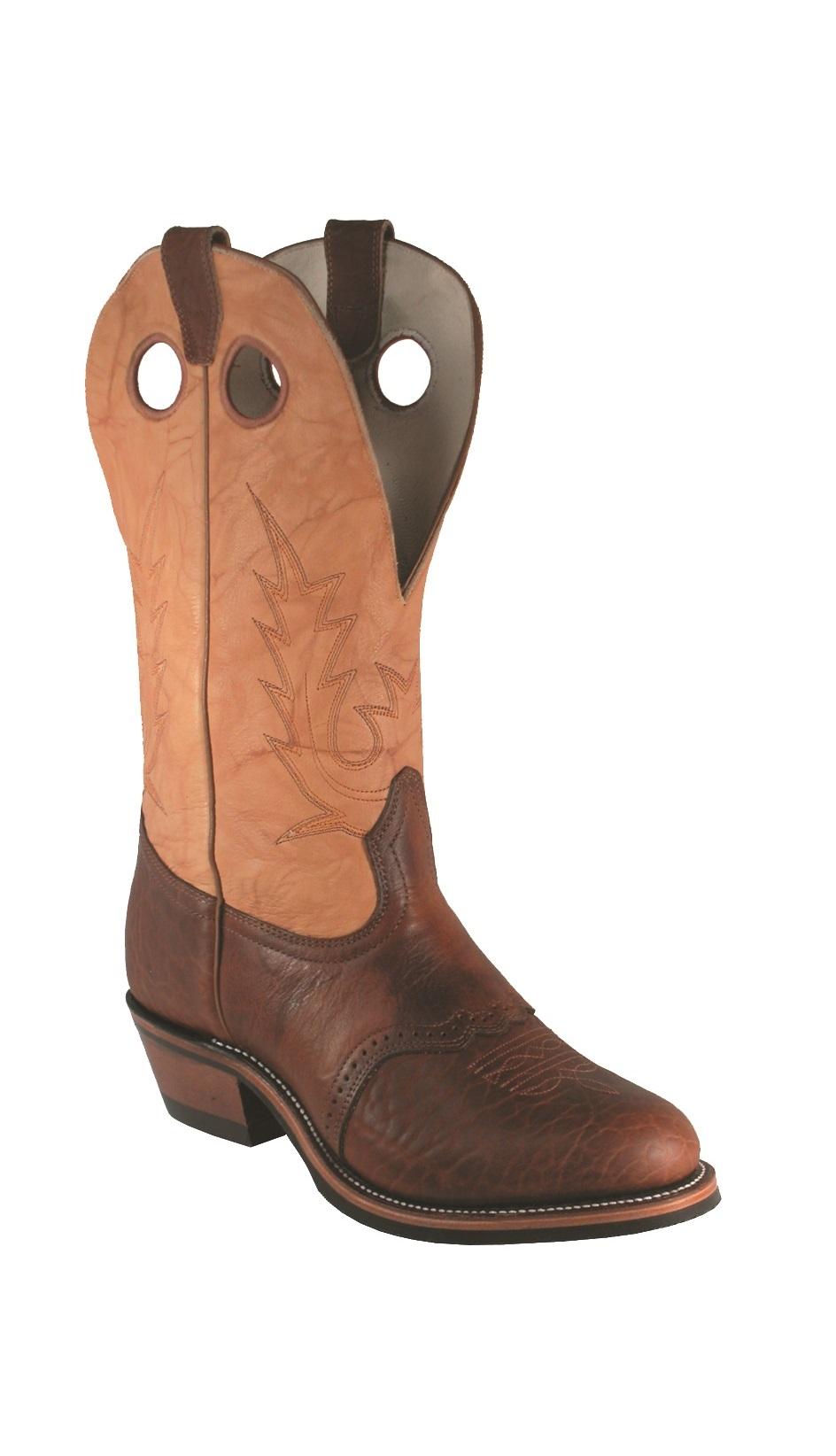 ccd11e31d7d BOULET Mens's Buckaroo Round-Toe bulls hide boots 4163