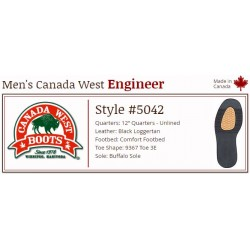 "Black Loggertan Engineer 12"" 5042 Canada West Enginees"