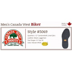 "Black Loggertan Lined 12"" 5069 Canada West Bikers"