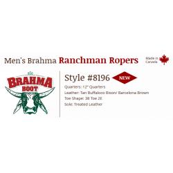 "Tan Buffaloco Bison/Barcelona Brown 12"" 8196 Canada West Brahma Ranchman Ropers"