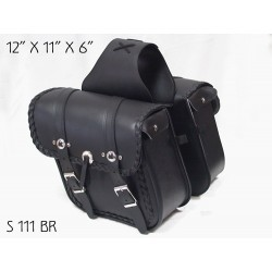 Slant Saddle Bag with braid and conchos s111BR