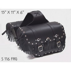 Slant Large Studded Saddle Bag with Fringe s116FRG