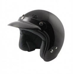 Open face Helmet - Classic Solid Glossy Black