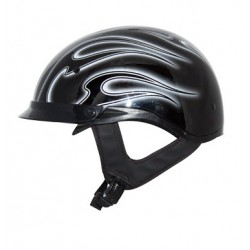 Half helmet with drop down visor Roadster Glossy Black / Silver