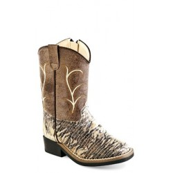 Old West Toddlers Chocolate Lizard Print Square Toe Boots VB1017