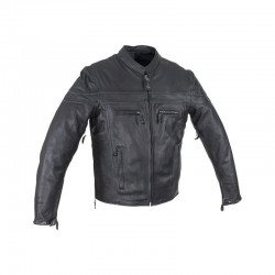 Men's Reflective stripe Leather Motorcycle Jacket