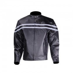 Mens Black Leather Jacket With Stylish Silver Stripes