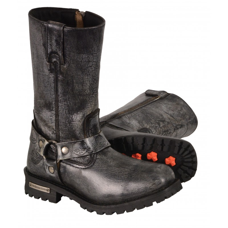 Men's Waterproof Distressed Gray 11-inch Classic Harness Square Toe Boot-MBM9006