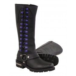 "MBL9366 Ladies ""14"" Inch Leather Harness Boot w/ Purple Accent Lacing"