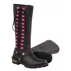 "MBL9367 Ladies ""14"" Inch Leather Harness Boot w/ Fuchsia Accent Lacing"