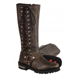 "MBL9368 Ladies Distressed Brown ""14"" Inch Classic Harness Square Toe Leather Boot w/ Full Lacing"