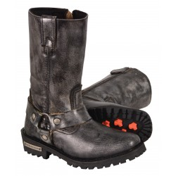 MBL9362 Ladies Milwaukee Distressed Gray 11 Inch Classic Harness Square Toe Boot