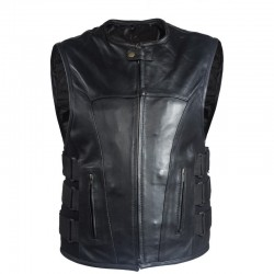 Mens Motorcycle Premium Leather MV315-11 Bullet Proof Style Vest CCW