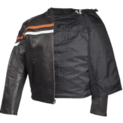 Men's Reversible Leather & Textile Motorcycle Jacket