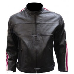 Men's Racer Leather Jacket with Maroon Racing Stripes