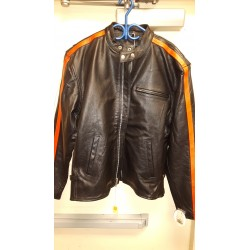 Mens Racing Leather Motorcycle Jacket With Orange/White Stripes