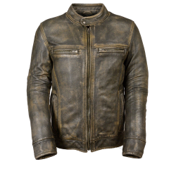 Mens Distressed Brown Leather Jacket with Venting