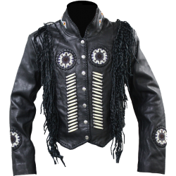 WOMENS LEATHER JACKET with Suede FRINGE W1701
