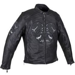 Men's Premium Leather Jacket with Reflective Skulls