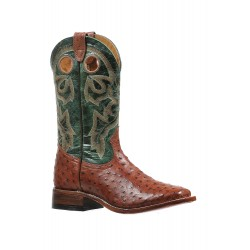 Boulet wide square toe Brandy Ostrich boot 8522