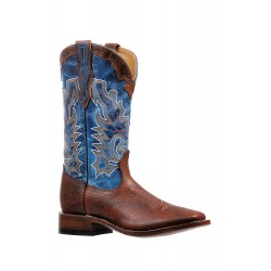"Boulet 13"" BISONTE Utta Whisky Lava Electric Blue Mens Wide Square Toe Boot 6326"
