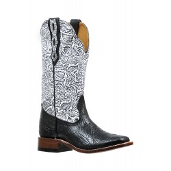 "Boulet Ladies 13"" Black Louisiana Daisy Black Wide Square Toe Boot 6295"