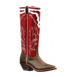 "Boulet Ladies 16"" Stovepipe Deerlite Red Wide Square Toe Boot 6257"