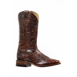 "Boulet 12"" Rustic Cowboy Brandy Shinny Ladies Wide square toe boot 6355"
