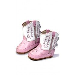 Jama Old West Poppets - Infant Boots 10032 Pink w/White Top Western Infant Booties