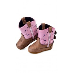Jama Old West Poppets - Infant Boots 10101 Tan Vintage Crackle Foot/Pink Shaft Boots