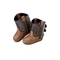 Jama Old West Poppets - Infant Boots 10102 Tan Vintage Crackle Foot/Brown Crackle Shaft Boots