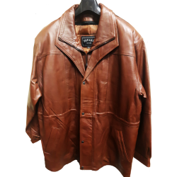 Mens Cognac Casual Leather Jacket with Zipout Liner