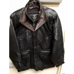 Mens Soft Casual Black Leather Jacket with brown collar- Zipout Liner