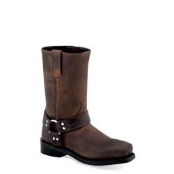 Children's Square-Toe Harness Boot - Brown CH1002