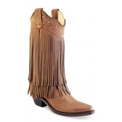 Old West LF1585 Chocolate Nubuck Fringed Ladies boots