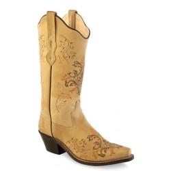 Old West LF1588 Ladies Vintage Cream Boots
