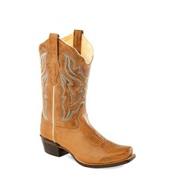 9ab75154fd6 Old West -Light Brown Ladies Medium Square Toe Boot - 18006