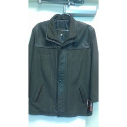 Casual leather & Wool combo jacket brown. 4803