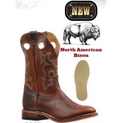 "Boulet Mens 12"" Bisonte Utta Whiskey - Single stitch Full Round Toe boot 6327 - rider sole"