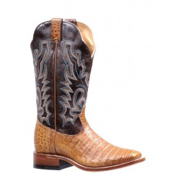 "BOULET Ladies 13"" Cognac Semi Damiana Moka Exotic Caiman Wide Square Toe 7522"
