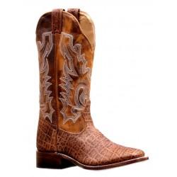 """Boulet Ladies 13"""" Safari Cognac Rough Rider Wide Square Toe Boot 7014"""