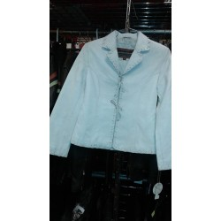 Ladies tiedown leather jacket White