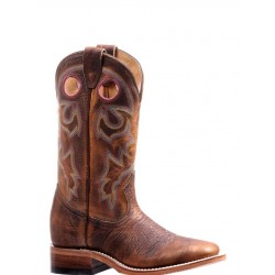 """BOULET 12"""" Ladies Bison Shrunken Old Town Rough Rider Amber Gold Wide Square Toe boot 7245"""
