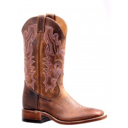 "Boulet 12"" LADIES DOUBLE STITCH HillBilly Golden WIDE SQUARE TOE RIDER SOLE 7220"