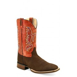 OLD WEST - Mens Dark Brown Nubuck - Antique Waxy Red Broad Square Toe Boot BSM1820