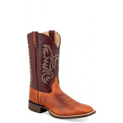 OLD WEST - Mens Timber Tan - Red Shaft Broad Square Toe Boot BSM1823