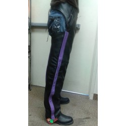 Purple stripe chaps premium leather